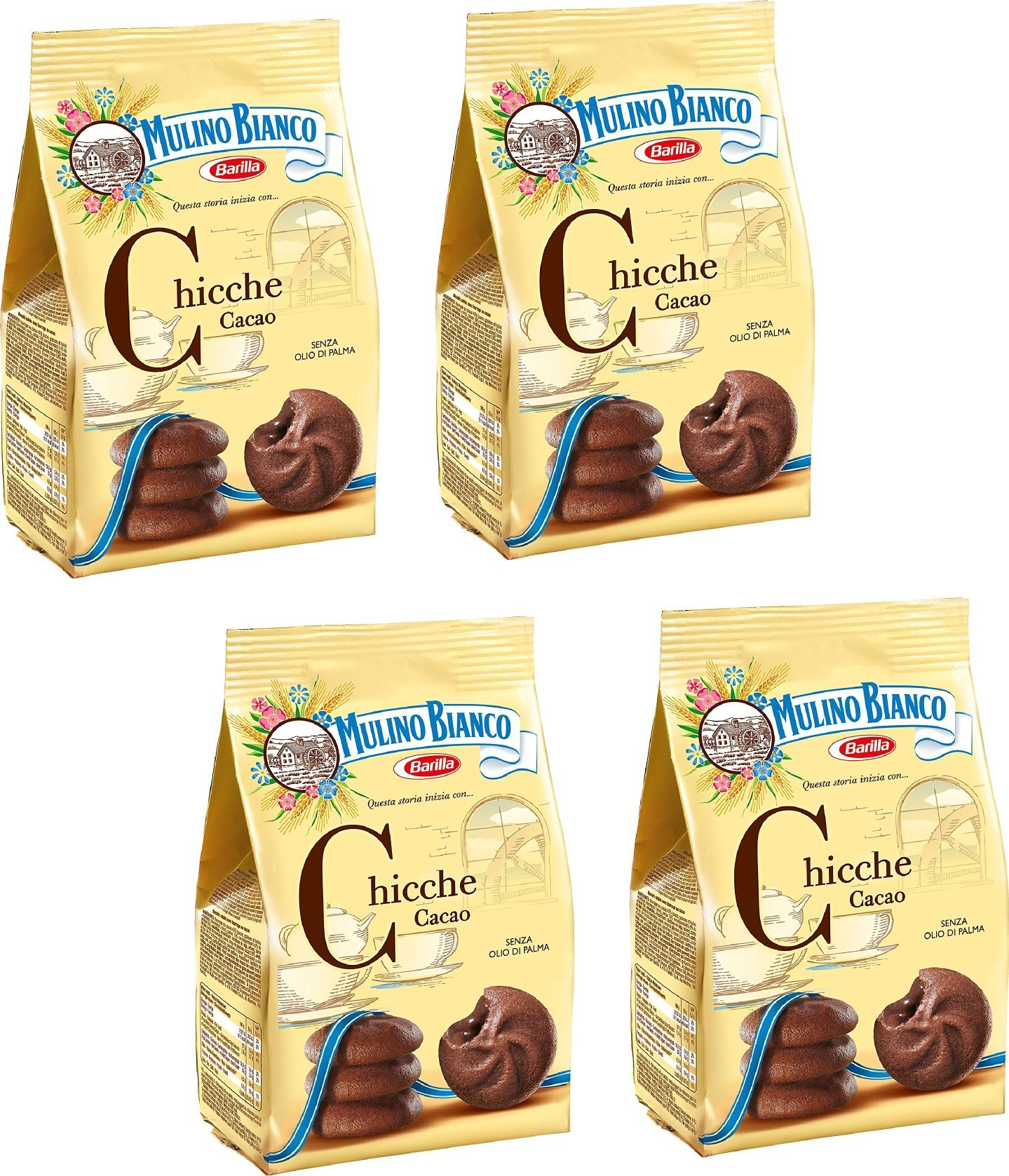 Mulino Bianco: ''Chicche'' Shortcake filled with cocoa cream - 7.05 Oz (200g) Pack of 4 [ Italian Import ]