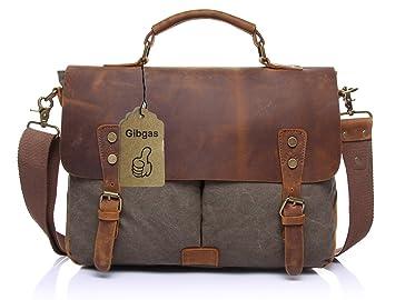 Umhängetaschen Herren Büffel-Leder Vintage Aktentasche Arbeitstaschen  Businesstasche Laptoptasche Schultertasche für Büro 14-15