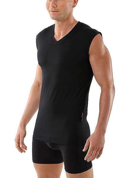 ALBERT KREUZ camiseta interior negra para hombre con cuello de pico, sin mangas y de