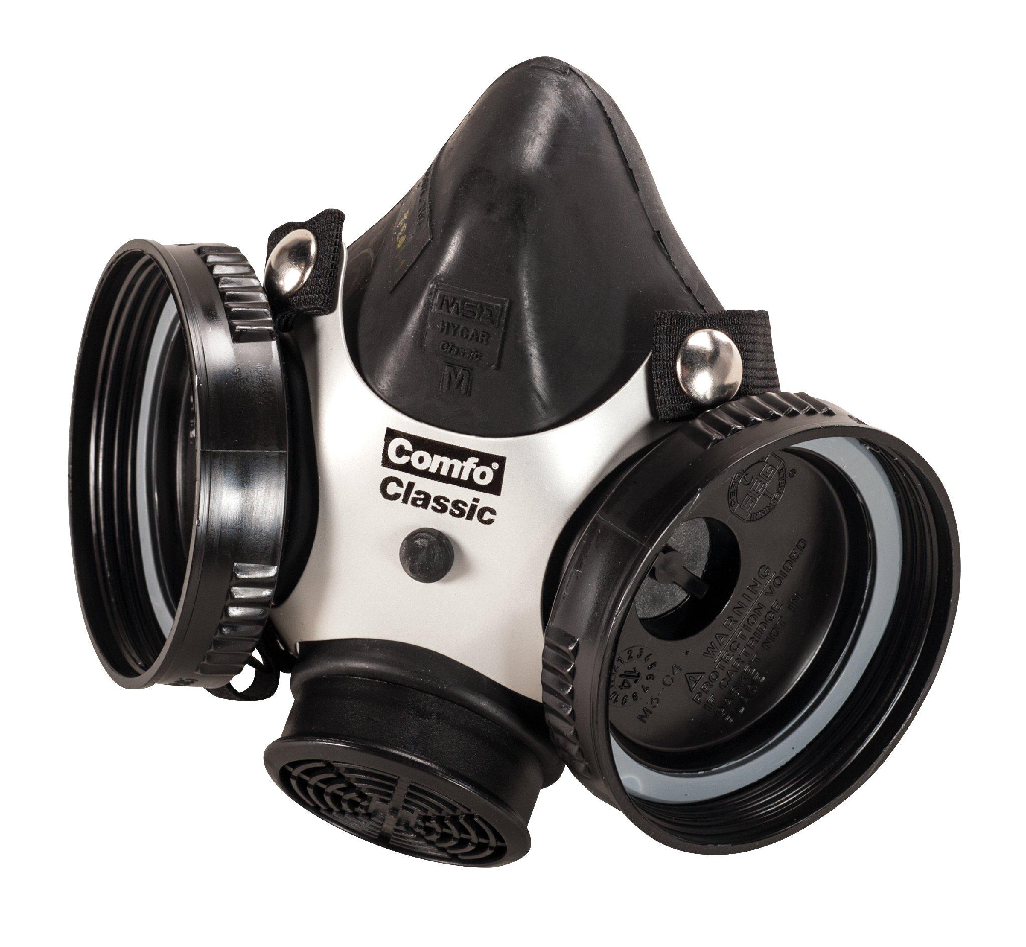 MSA 808071 Comfo Classic Soft Feel Silicone Half-Mask Facepiece Respirator, Medium, Black