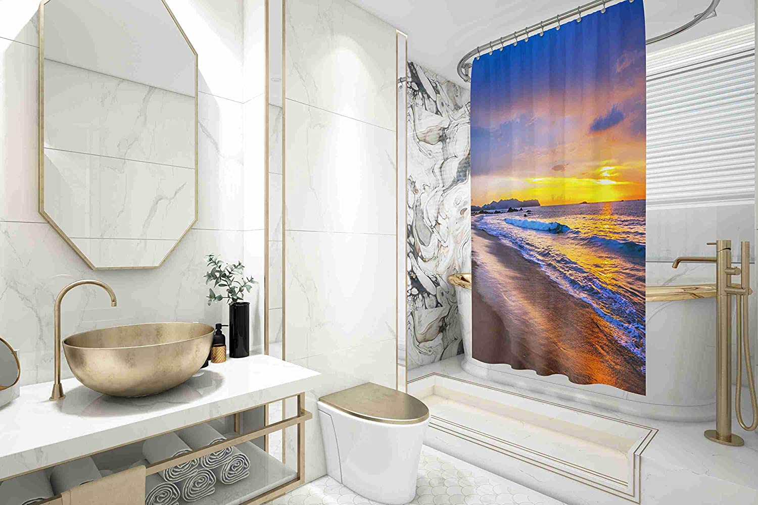 Beautiful Sunset on The sea Waterproof Decor Bathroom Set with Hooks Shorping 78x72 Shower Curtain,Clear Shower Curtain