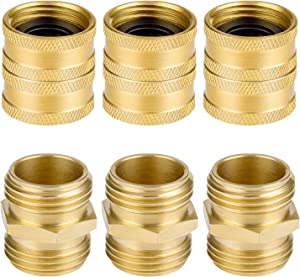 6 Pack Garden Hose Adapter, 3Pcs Male to Male & 3Pcs Female to Female 3/4'' Brass Hose Connector with Extra 6 Washers