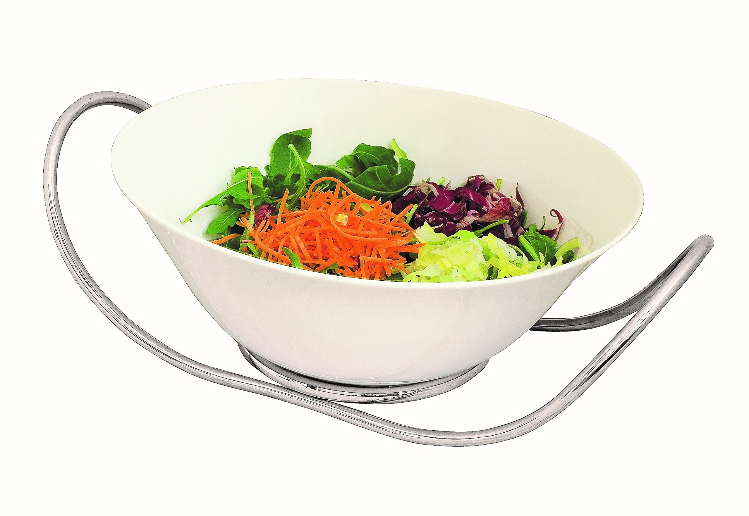 Mepra Due Ice Fine China Salad Bowl with Stand, 28cm