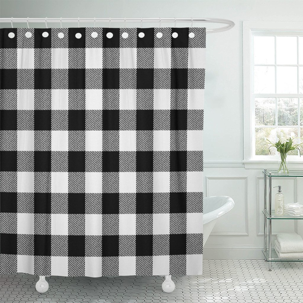 Amazon Emvency Shower Curtain Autumn White Buffalo Plaid Black Bright Cabin Check Checkered Waterproof Polyester Fabric 72 X Inches Set With Hooks