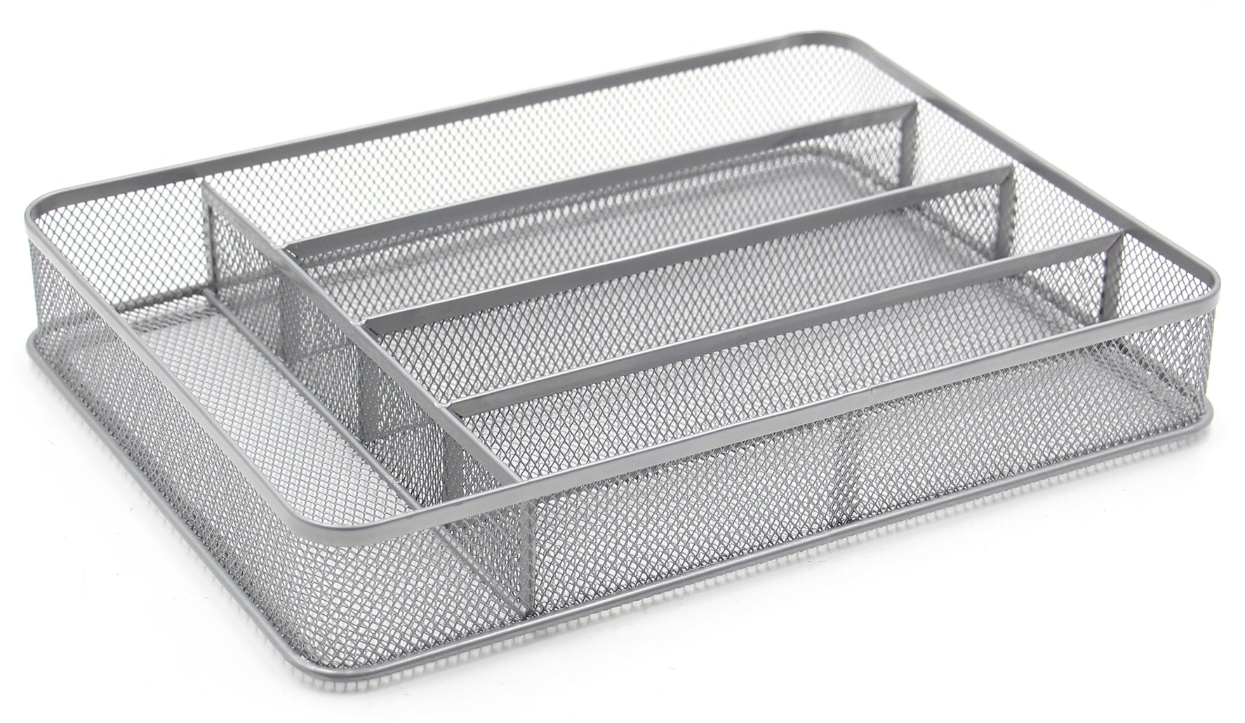ESYLIFE 5 Compartment Mesh Kitchen Cutlery Trays Silverware Storage Kitchen Utensil Flatware Tray, Silver by Esy-Life (Image #4)
