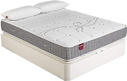 PIKOLIN Pack Colchón Troas de muelles ensacados 150x200 + canapé con Base abatible y 2 Almohadas de Fibra