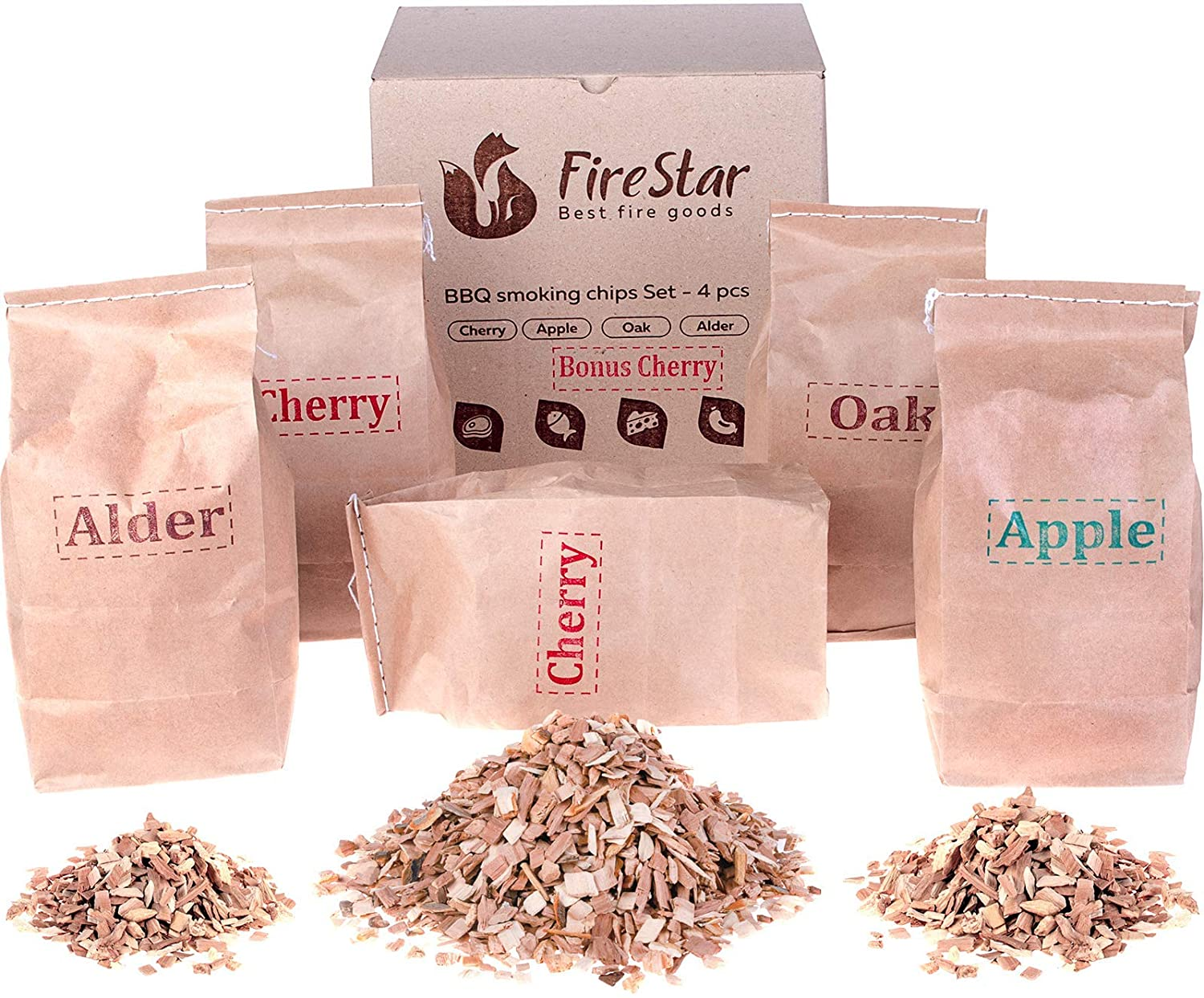 Cherry - Variety pack 5 pcs Oak bbq and grill bonus e-book Alder Wood chips for smoking and grilling Wood chips for smokers Apple smoker chips
