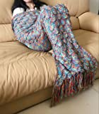 Opall 2017 Handmade Mermaid Tail Blanket Summer Super Soft Sleeping Bags with Scales Pattern and Tassels Medium (7-13 Youth) (Medium, Mix color)