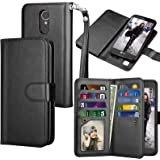 LG K20 V Case, LG K20 Plus Wallet Case, LG Harmony / LG Grace / LG V5 / K10 2017 PU Leather Case, Tekcoo Luxury Cash Credit Card Slots Holder Flip Cover [Detachable Magnetic Hard Case] - Black