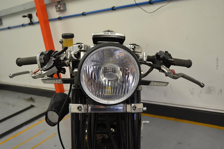 7.5 190mm Nero OPACO Acciaio 12v 55w Moto Faro Fanale Anteriore per Streetfighter Personalizzazione Moto o Retr/ò Vintage Moto