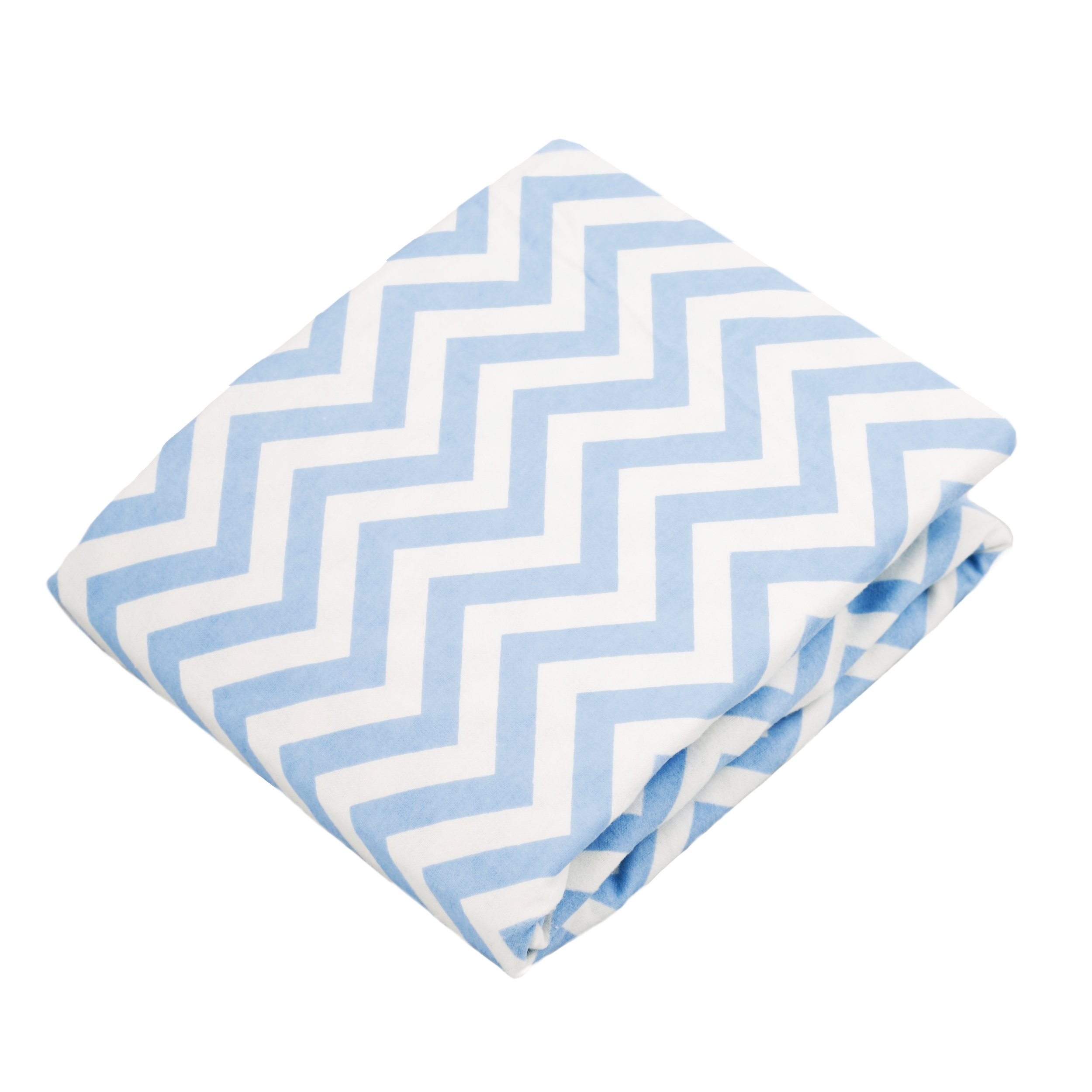 Kushies Pack N Play Playard Sheet, Soft 100% breathable cotton flannel, Made in Canada, Blue Chevron