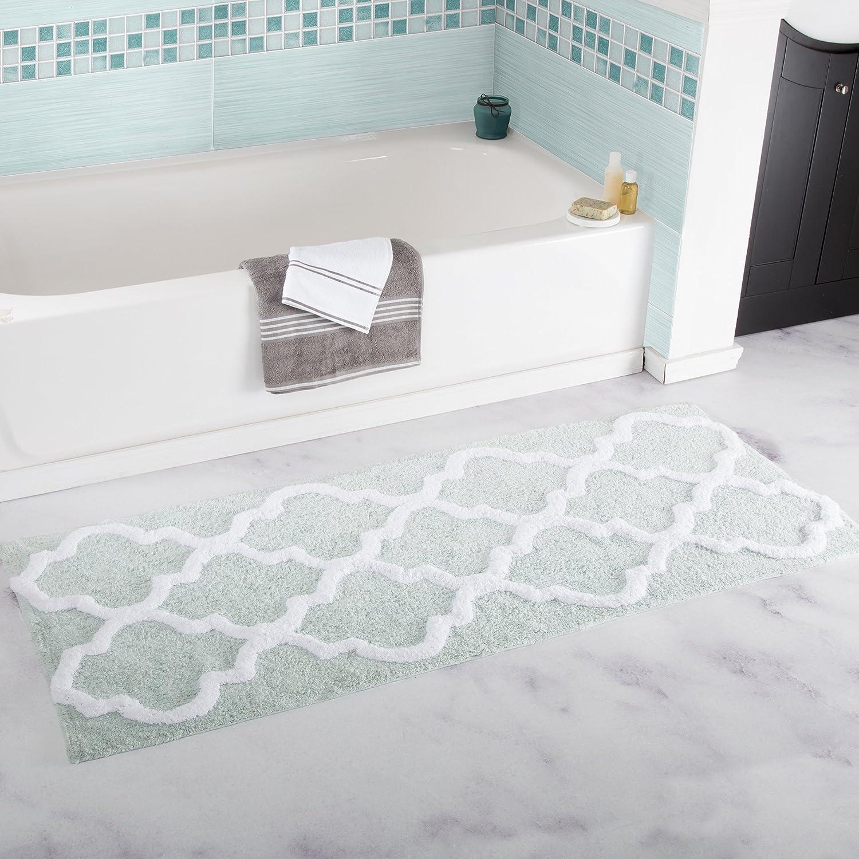 Bedford Home 100% Cotton Trellis Bathroom Mat - 24x60 inches - Seafoam