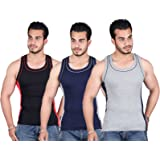 White Moon 999 Gym Vest - Pack of 3 (Black_Blue_Gray)