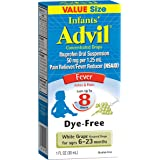 Advil Infants' Fever Reducer/Pain Reliever Dye-Free, 50mg Ibuprofen Concentrated Drops, White Grape Flavor, 1 ounce