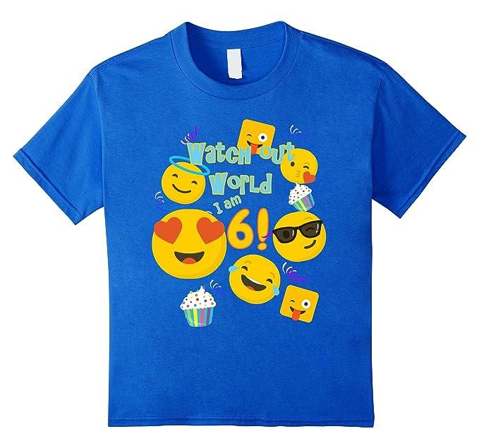 Unisex Child 6 Year Old Girl Watch Out World Emoji Birthday Shirt 4 Royal Blue