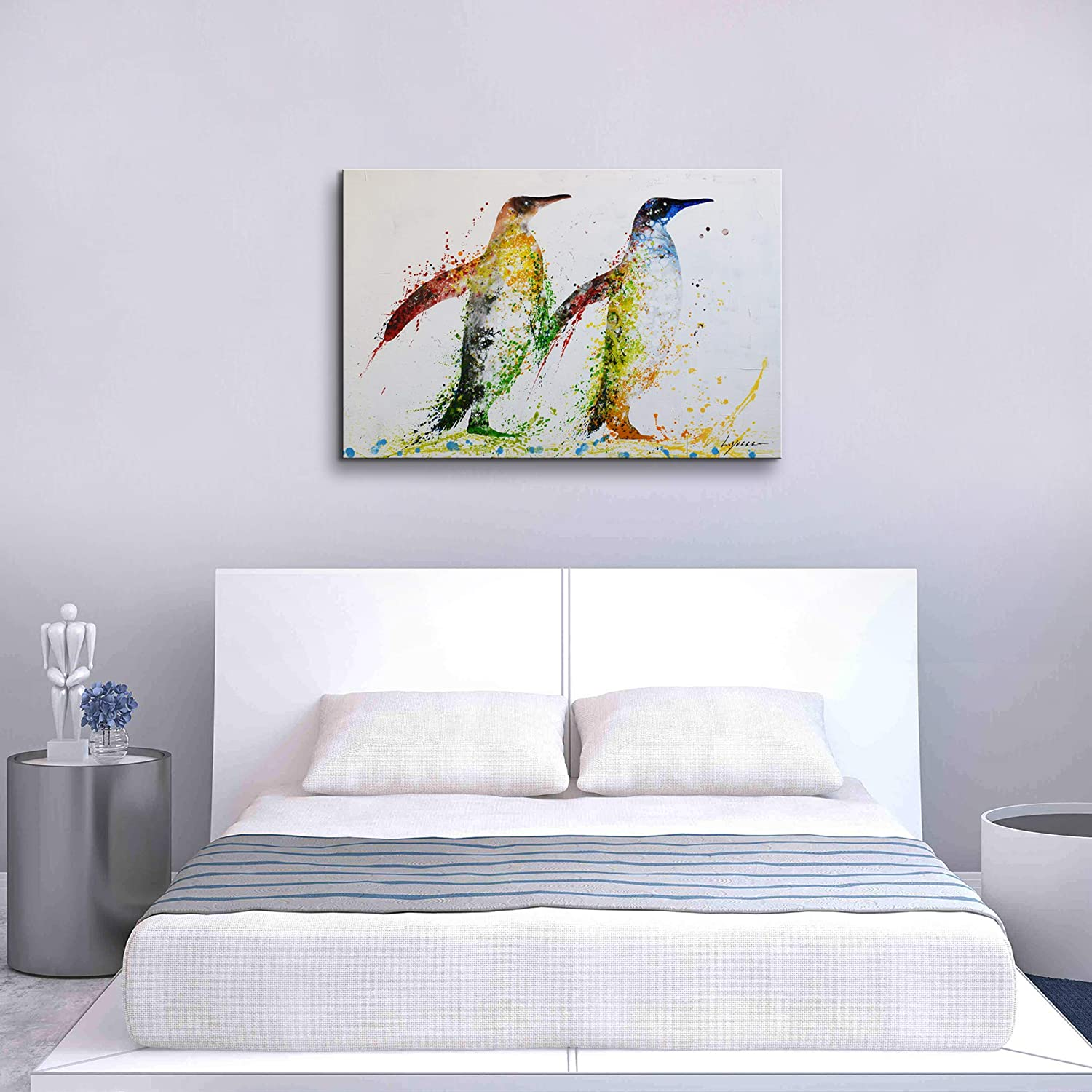 Colorful Animal Wall Art for Living Room Hand-Painted Artwork 24x36inch Penguin Framed Animal Oil Painting on Canvas Wall Art Set for Bedroom Childrens Room Gallery-Wrapped Wall Decor Ready To Hang