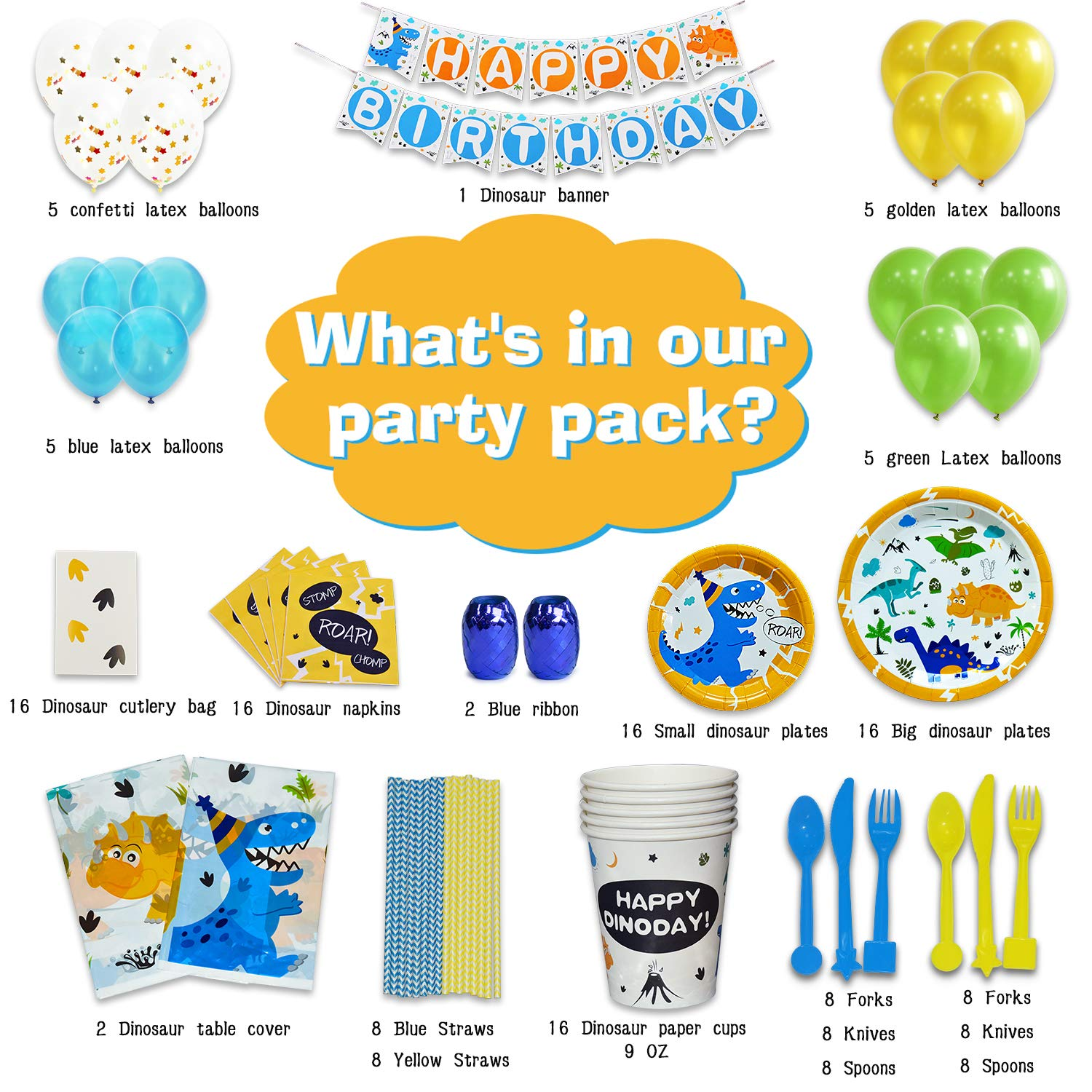 WERNNSAI Dinosaur Party Supplies Set - Dinosaur Themed Party Decoration for Boys Kids Birthday Cutlery Bag Table Cover Plates Cups Napkins Straws Utensils Banner & Balloons Serves 16 Guests 169 PCS by WERNNSAI (Image #2)