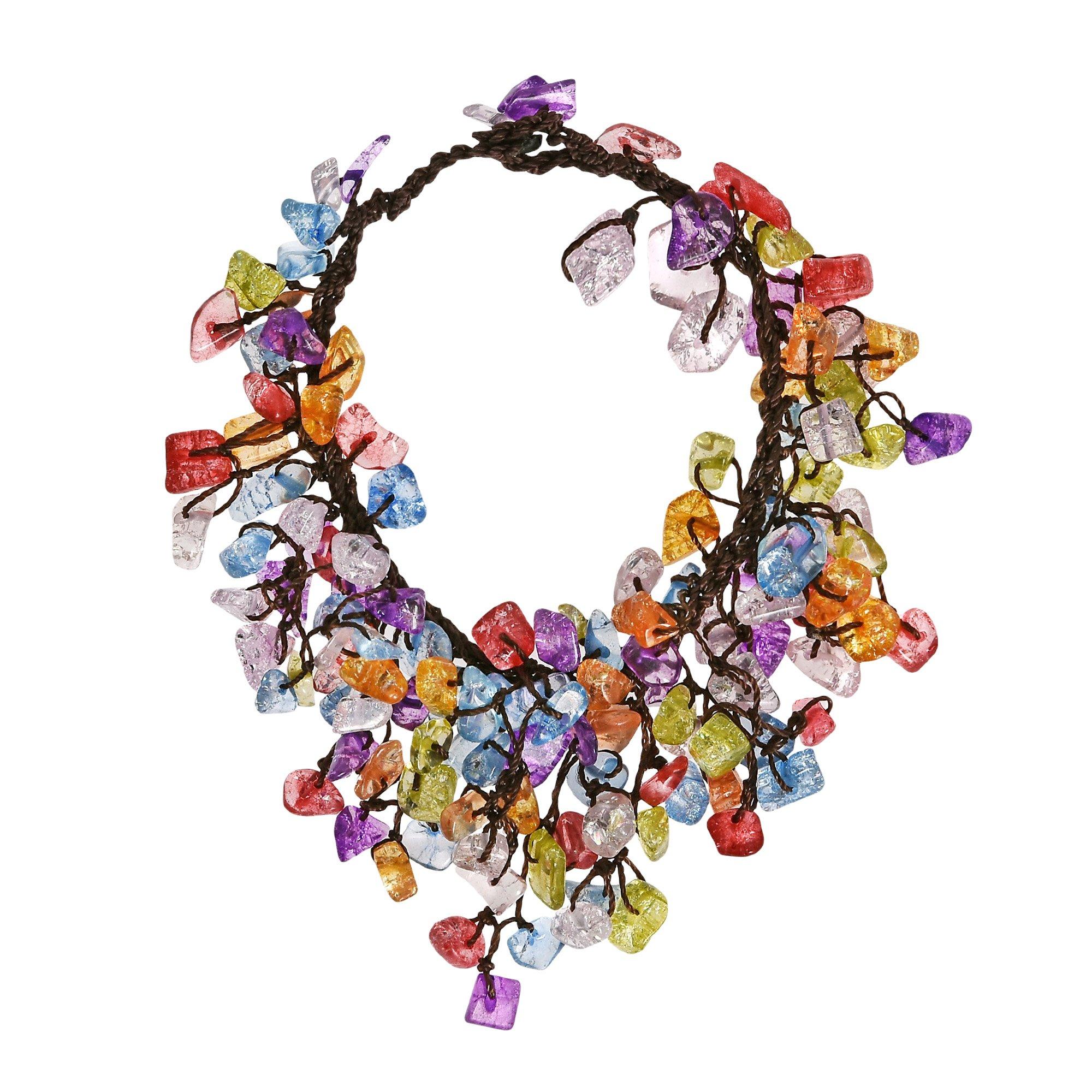 AeraVida Cluster Dangle Multicolor Colored Glass Cotton Wax Rope Bracelet
