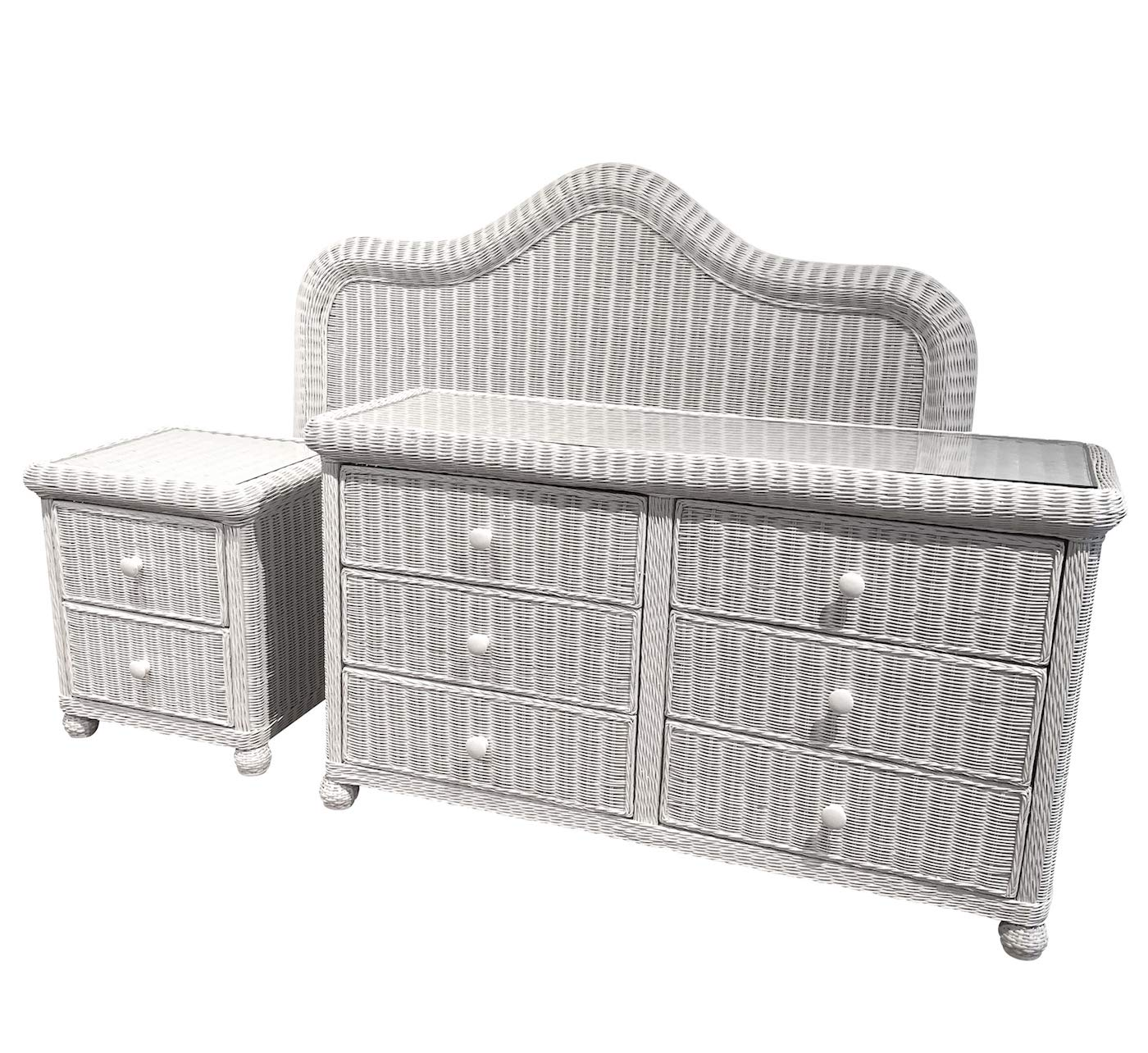 Amazon.com: White Wicker Bedroom Set of 3 (Queen Headboard ...
