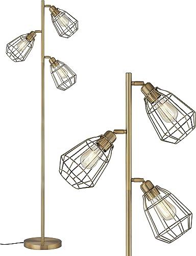 LeeZM Modern Brown Brass Tree Floor Lamp Industrial Floor Lamps For Living Rooms Bedrooms Office
