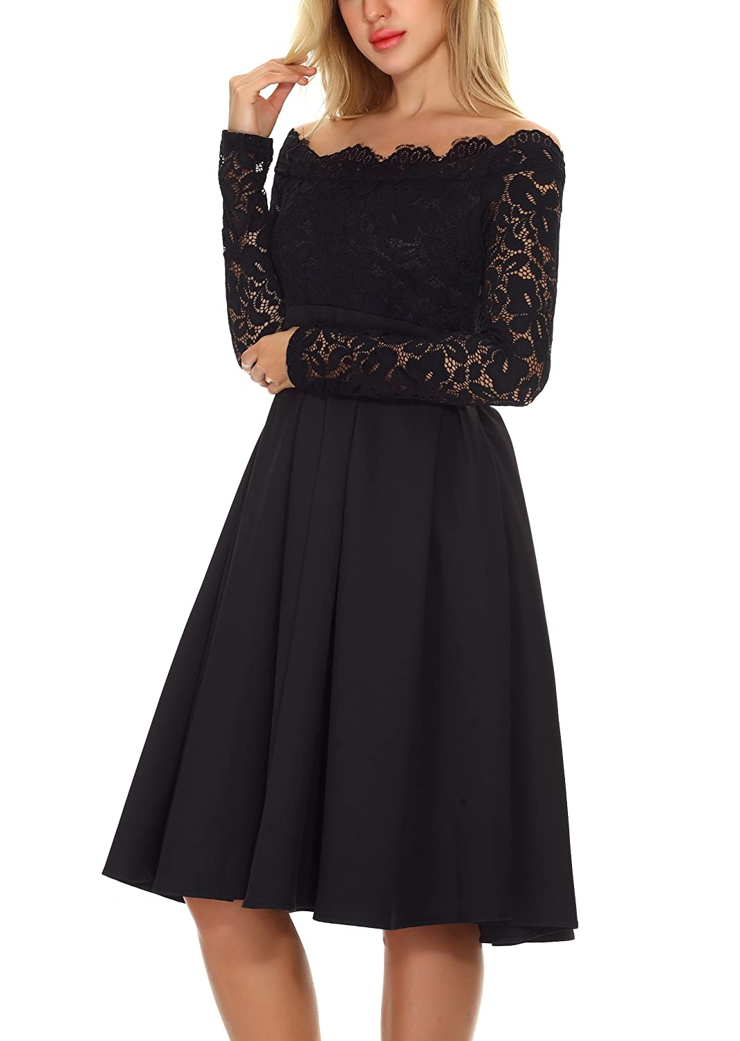 DAFUNNA Womens Vintage Floral Lace Long Sleeve Off-Shoulder Swing Dress Formal Cocktail Party Dress at Amazon Womens Clothing store: