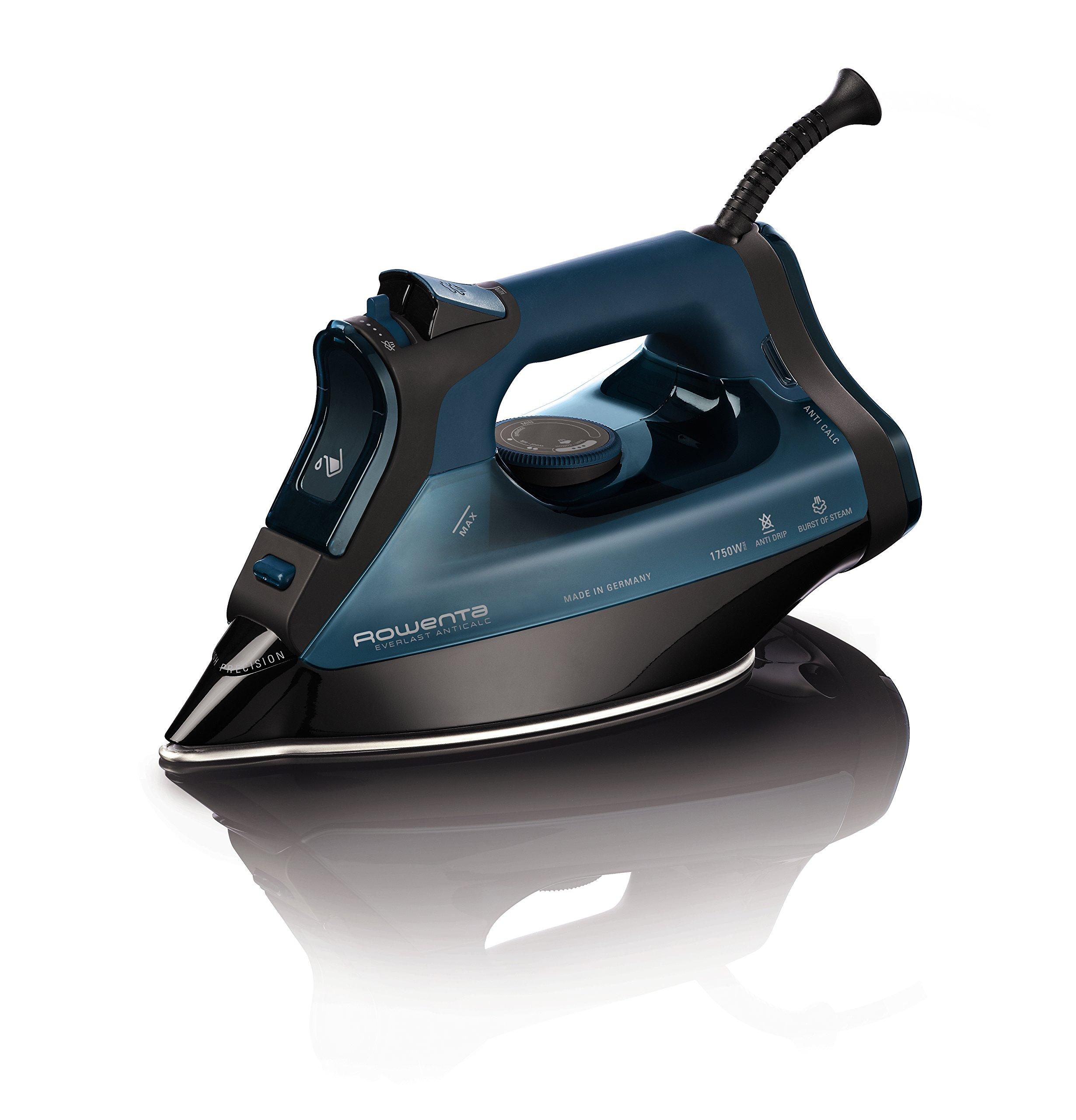 Rowenta DW7180 Everlast 1750-Watt Anti-Calc Steam Iron Stainless Steel Soleplate with Auto-Off, 400-Hole, Blue