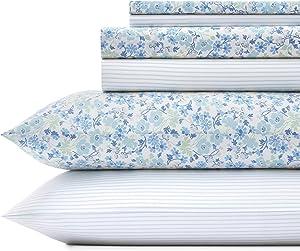 Laura Ashley Jaynie/Ticking Stripe Sheet Set, King, Wintergreen