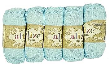 Küche Bella Blau | Alize Bella 5 X 50 Gramm Baumwolle Einfarbig 250 Gramm Wolle Aus