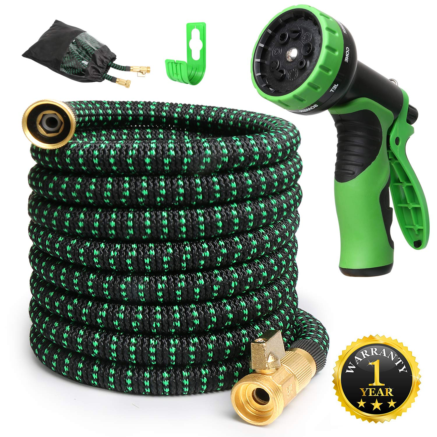 50feet Expandable Garden Hose Expandable Water Hoses with 3/4 Inch Solid Brass and 9 Function Nozzle Flexible Expanding Lightweight Gardening Hose Outdoor Yard Hoses Car Wash Hose Non-kink
