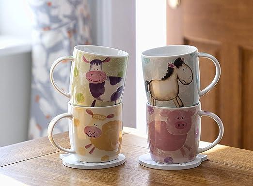 il latte 350 ml il cacao rotondo Set di 6 tazze da caff/è in tinta unita con tazza da t/è grande per il caff/è MamboCat