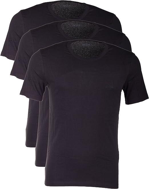 Hugo Boss - Juego de 3 camisetas (cuello redondo, manga corta, corte regular), color blanco o negro 3 X Schwarz X-Large