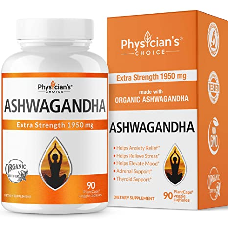 Ashwagandha 1950mg Organic Ashwagandha Root Powder Extract Of Black Pepper Anxiety Relief, Thyroid Support, Cortisol & Adrenal Support, Anti Anxiety & Adrenal Fatigue Supplements 90... by Physician's Choice