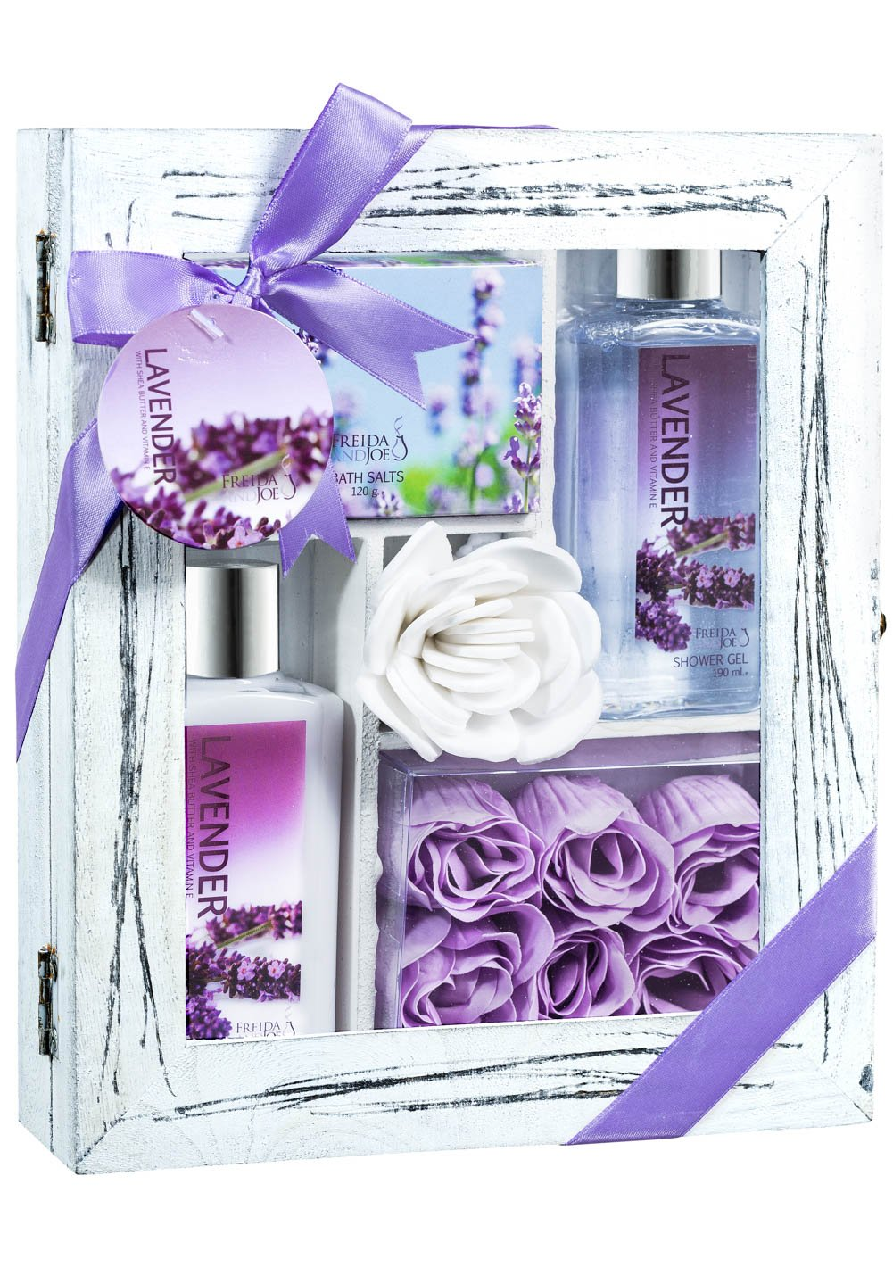 Bath and Body Relaxation Kit Gift Set by Freida and Joe in Lavender Fragrance, with Body Lotion, Shower Gel, Bath Salts, and Rose Soap, in Distressed White Wood Curio, the Best Present for Women