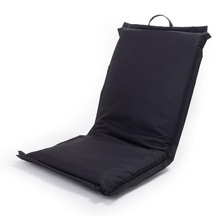 Ampel 24, Silla de Suelo Festival, Silla de meditación con Respaldo Ajustable | Silla Plegable lexterior | Impermeable | Negro
