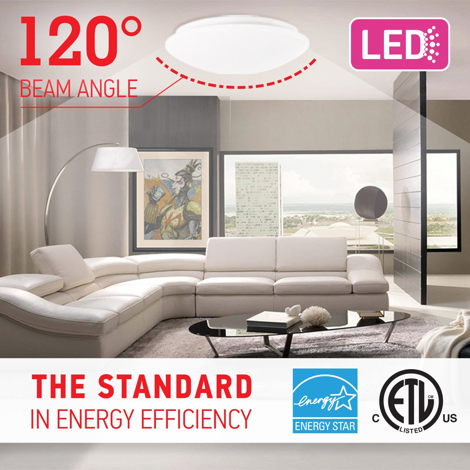OSTWIN 11-inch LED Flush mount Ceiling Light MS Series 20W (100 Watt equivalent), Dimmable, 5000K (Daylight), 1864 Lumens, White Finish with Acrylic shade, ETL and ENERGY STAR listed by OSTWIN (Image #4)