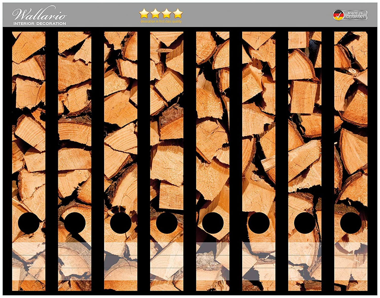 Holzstapel gehackt Wallario Ordnerrücken selbstklebend für 6 breite Ordner
