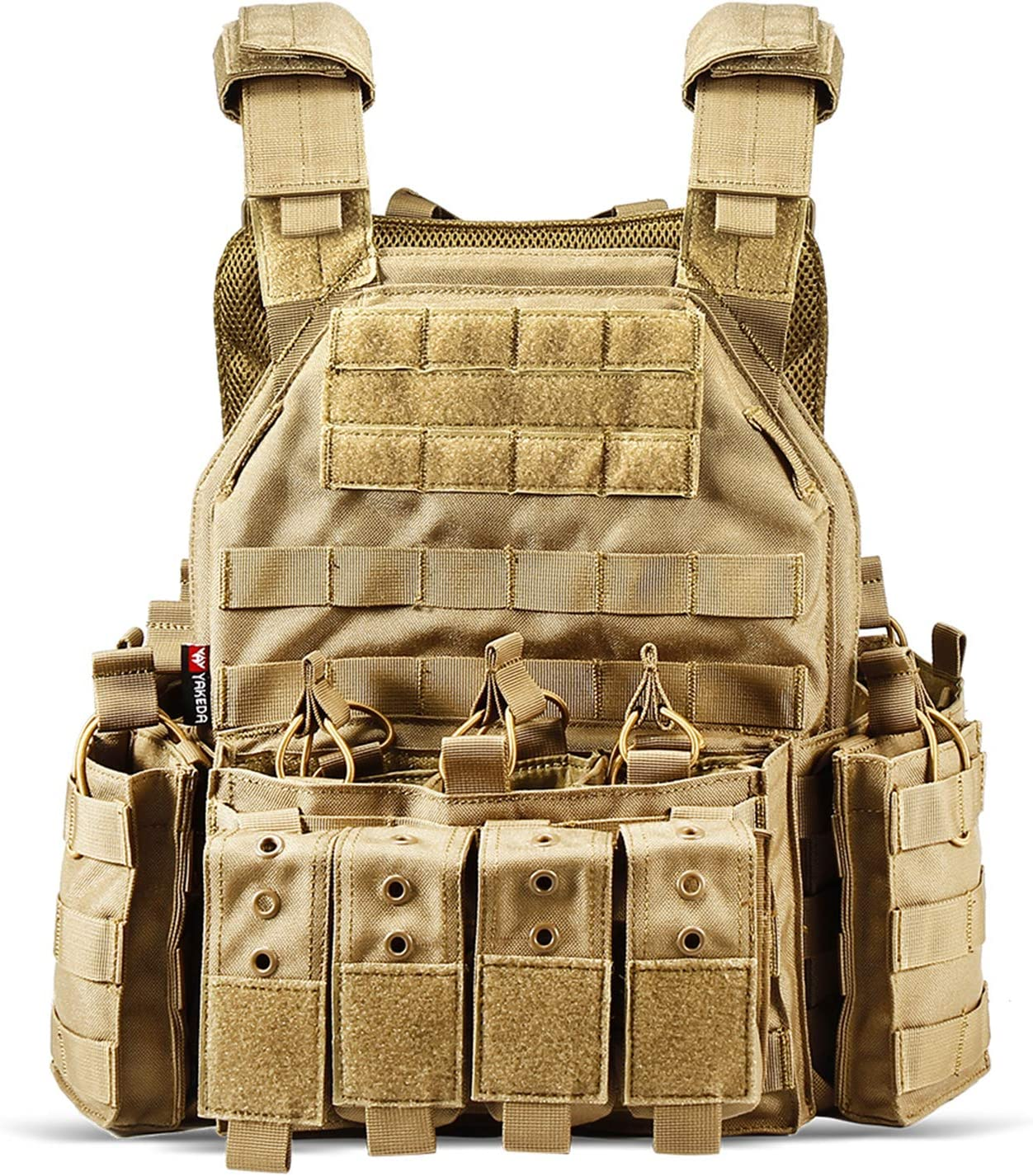 CAMO Tactical Outdoor Vest in Tan Color, 1000D Nylon material, detachable mesh padding