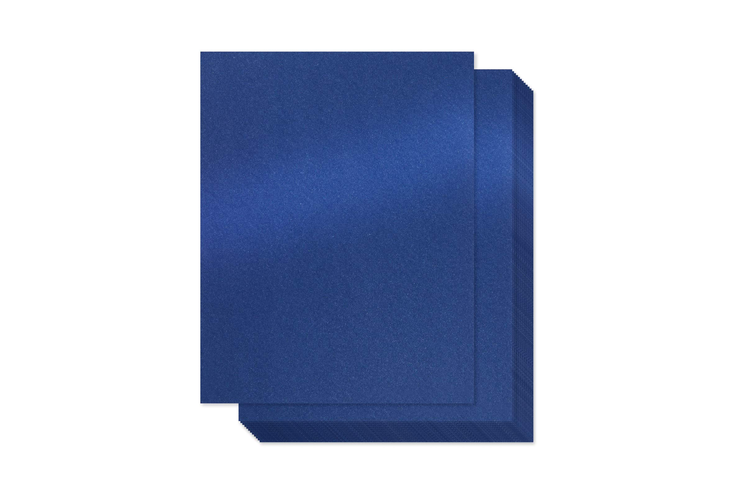 Navy Blue Shimmer Paper - 100-Pack Metallic Cardstock Paper, 92 lb Cover, Double Sided, Printer Friendly - Perfect for Weddings, Birthdays, Craft Use, Letter Size Sheets, 8.5 x 11 Inches by Bubbley
