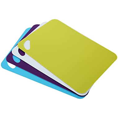Cutting Board Mats Set, C&AHOME Food Grade Plastic Colorful Kitchen Cutting Board Set of 4 Colored Mats