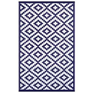 Outdoor Patio Rug (6 X 9, Navy/White)