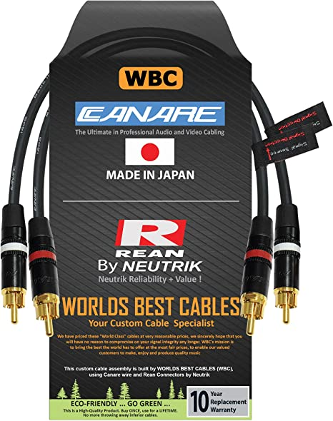 Custom Made by WORLDS BEST CABLES 5 Foot RCA Cable Pair Made with Canare GS-6 Audio Interconnect Cable and Neutrik-Rean NYS Gold RCA Connectors