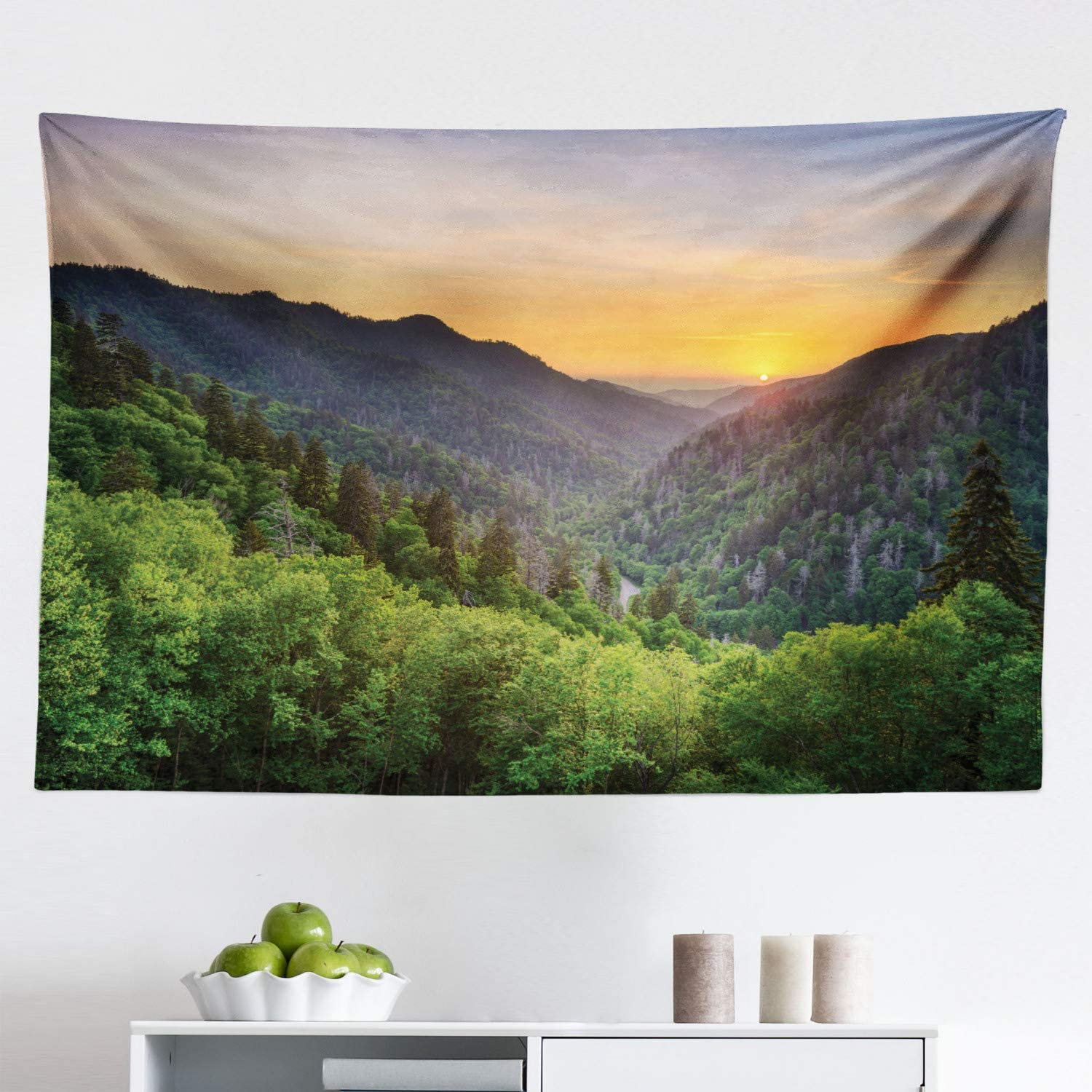 """Ambesonne Appalachian Tapestry, Sunset Panoramic Photo from Newfound Gap in The Smoky Mountains Print, Fabric Wall Hanging Decor for Bedroom Living Room Dorm, 45"""" X 30"""", Multicolor"""
