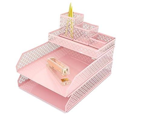 Exceptionnel Blu Monaco Office Supplies Pink Desk Accessories For Women 6 Piece  Interlocking Desk Organizer Set