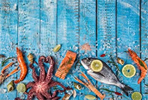 Laeacco 5x3ft Turquoise Wooden Texture Board Backdrop Summer Seafood Feast Party Background Shrimps Fish Octopus Lemon Slice Family Dinner Banner Blue Wood Plank Photography Birthday Party Backdropsc