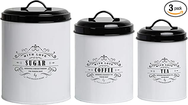 Baie Maison Large Kitchen Canisters Set of 3 - Farmhouse Canister Sets for Kitchen Counter White - Coffee Tea Sugar Container Set - Rustic Kitchen Canisters Farmhouse Style Decor - Metal Kitchen Jars