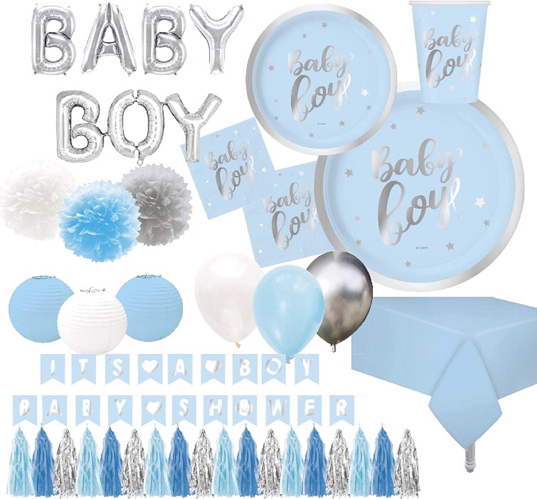 Serves 30 | Baby Boy Baby Shower Essentials | Silver Foil | 9