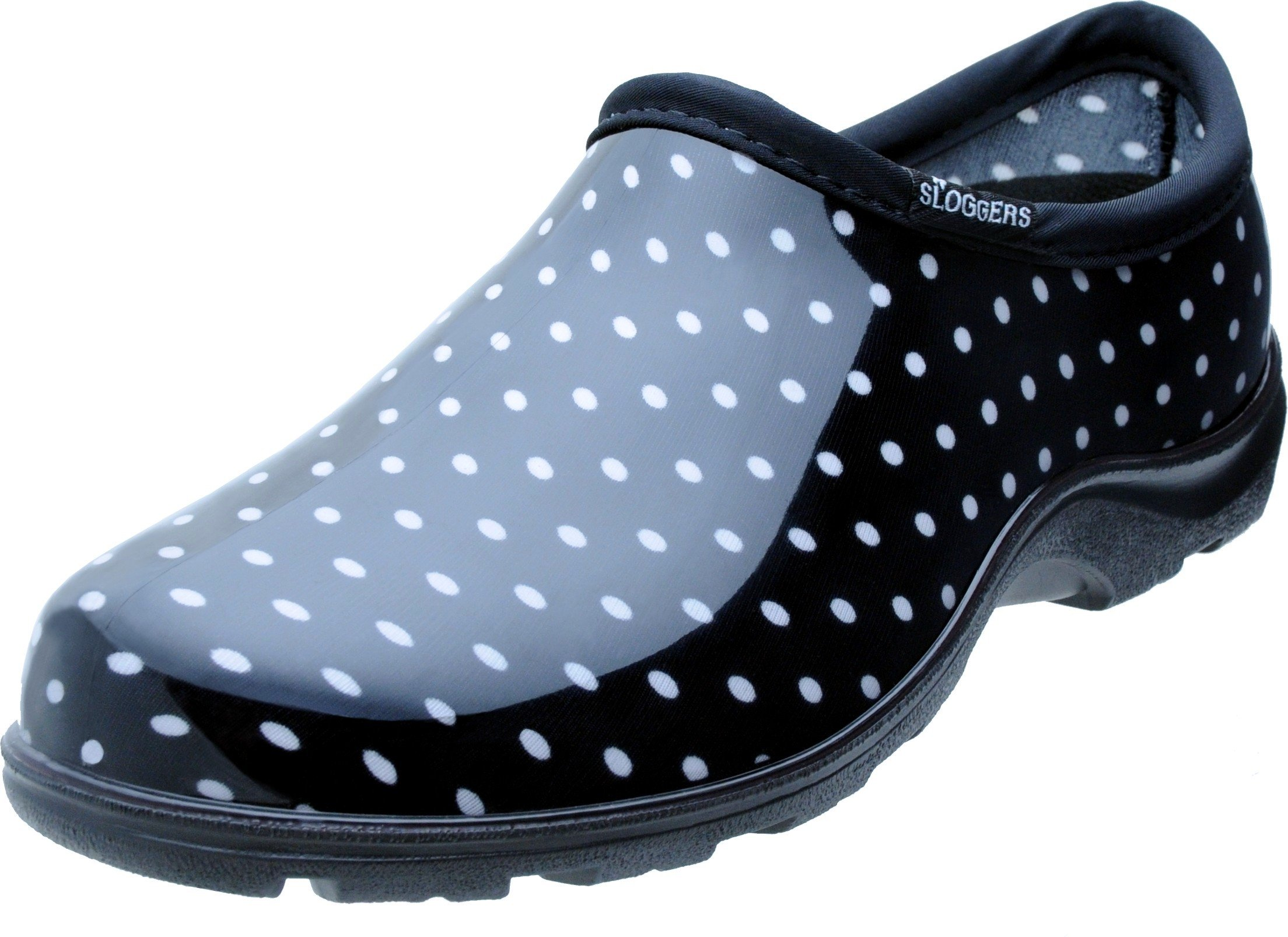 Sloggers 5113BP10 Rain and Garden Shoe with All Day Comfort Insole, Wo's Size 10, Black/White Polka Dot Print