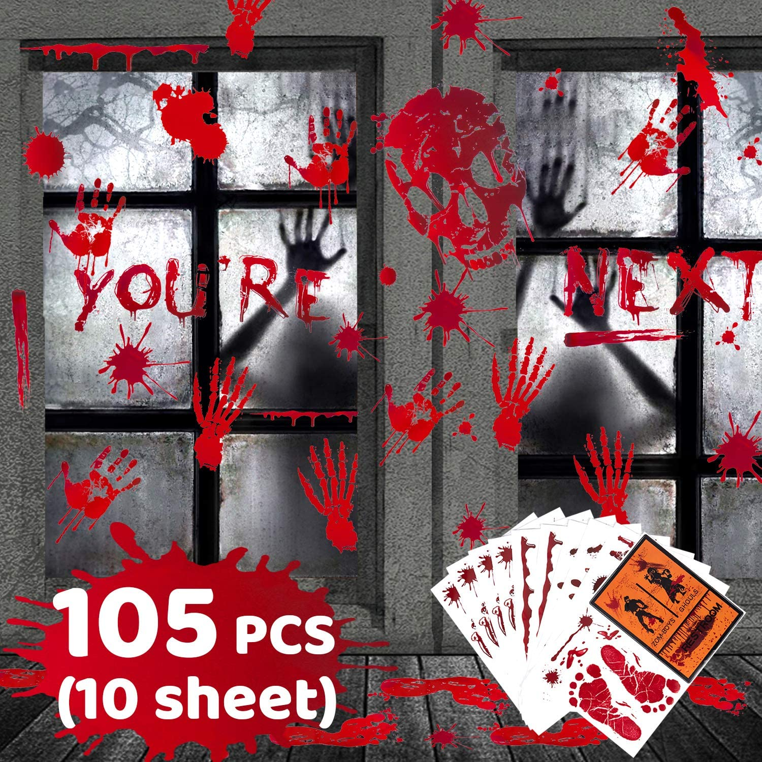 CDLong 105PCS Bloody Footprints Floor Clings Halloween Party Decorations Scary Vampire Zombie Restroom Sign Decals Spooky Skull and Blood Splatter