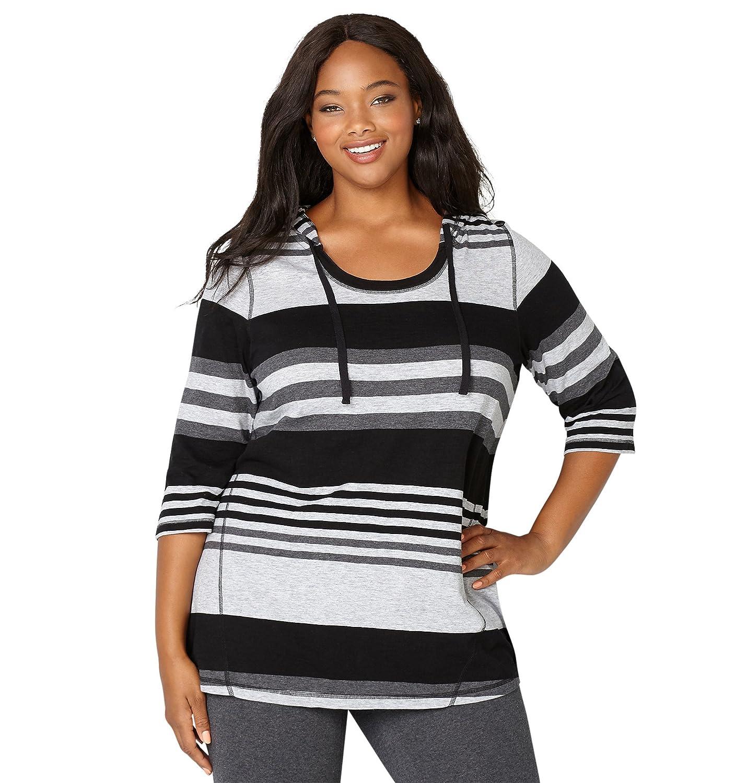Avenue Women's Heathered Stripe U-Neck Active Hoodie 14/16 Black White 40546003