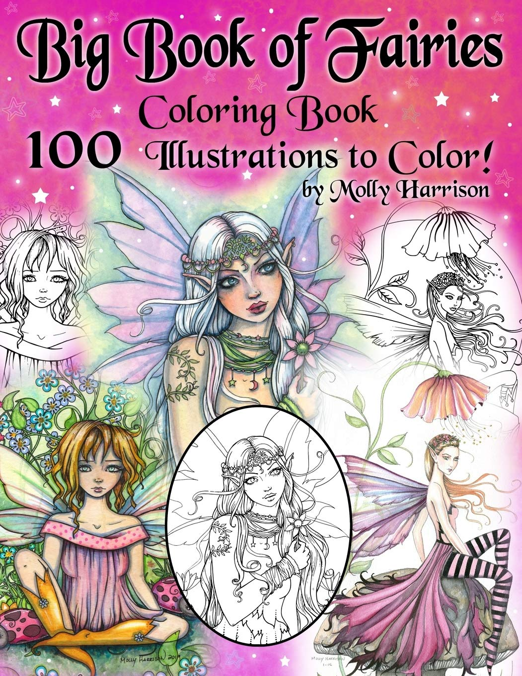 - Big Book Of Fairies Coloring Book - 100 Pages Of Flower Fairies